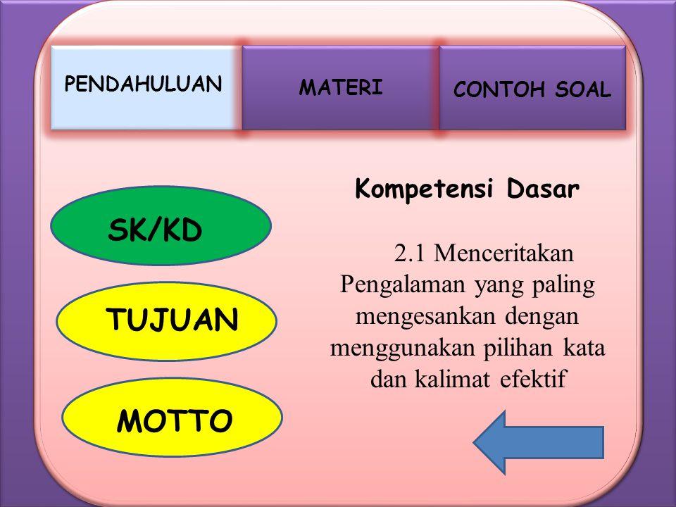 MATERI PENDAHULUAN CONTOH SOAL SK/KD TUJUAN MOTTO Kompetensi Dasar 2.1 Menceritakan Pengalaman yang paling mengesankan dengan menggunakan pilihan kata