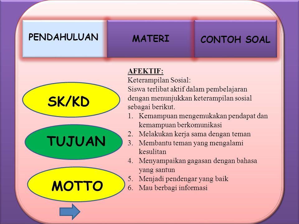 MATERI PENDAHULUAN CONTOH SOAL SK/KD TUJUAN MOTTO AFEKTIF: Keterampilan Sosial: Siswa terlibat aktif dalam pembelajaran dengan menunjukkan keterampila