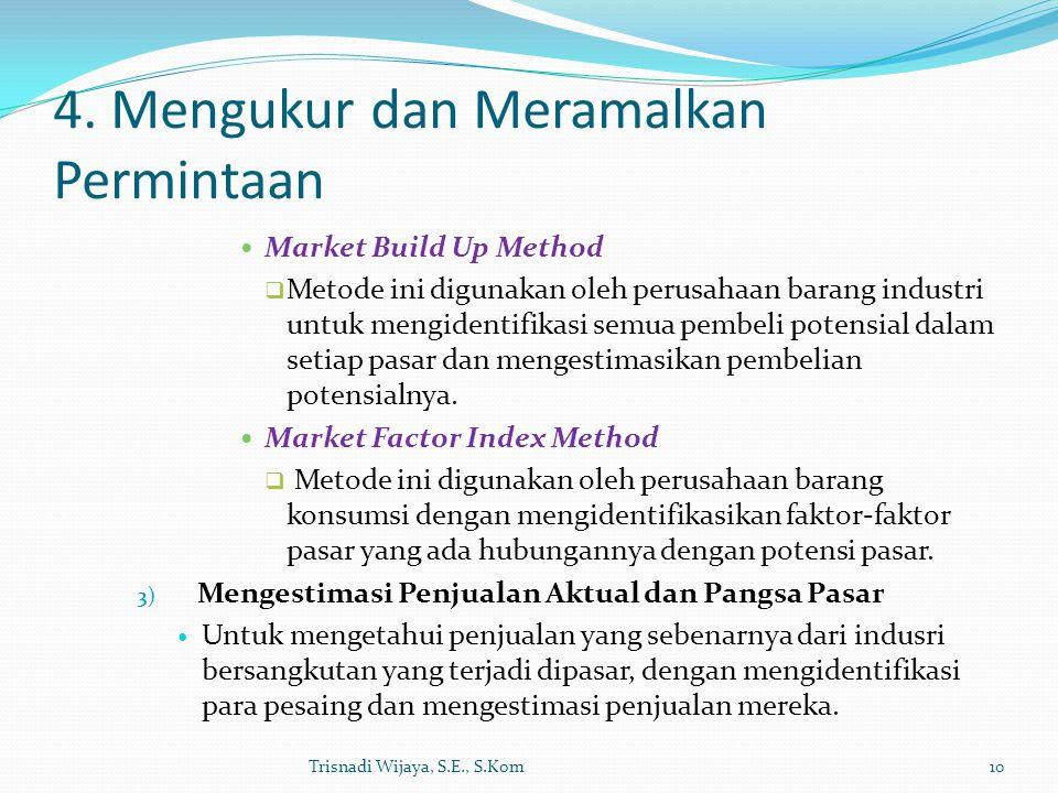 4. Mengukur dan Meramalkan Permintaan Market Build Up Method  Metode ini digunakan oleh perusahaan barang industri untuk mengidentifikasi semua pembe