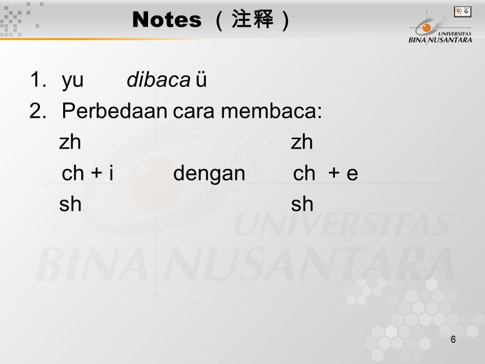 6 Notes (注释) 1.yu dibaca ü 2.Perbedaan cara membaca: zh zh ch + i dengan ch + e sh sh