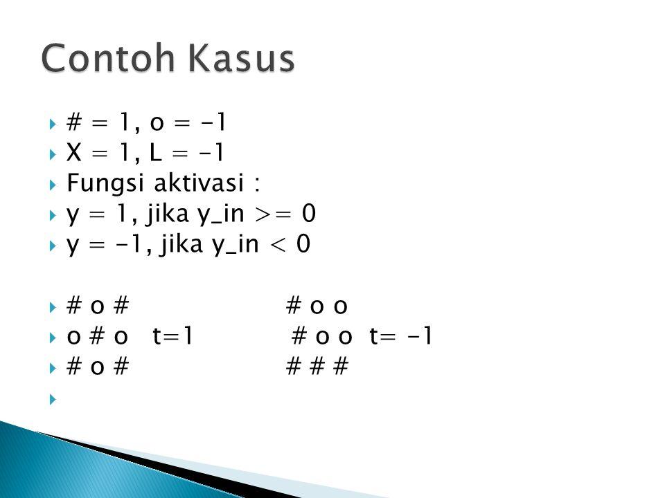  # = 1, o = -1  X = 1, L = -1  Fungsi aktivasi :  y = 1, jika y_in >= 0  y = -1, jika y_in < 0  # o # # o o  o # o t=1 # o o t= -1  # o # # #