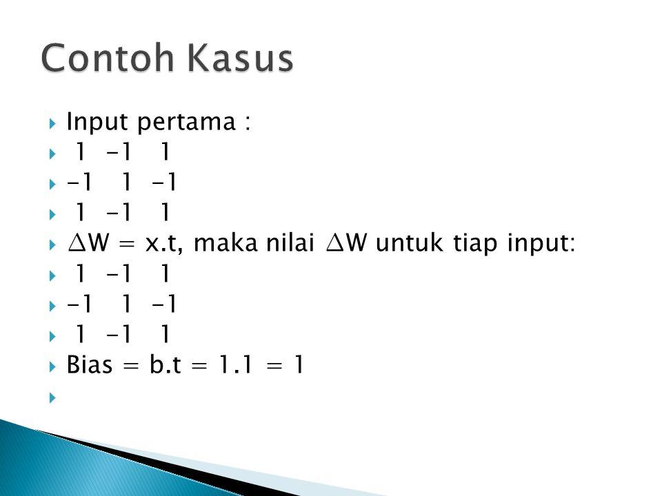  Input pertama :  1 -1 1  -1 1 -1  1 -1 1  ∆W = x.t, maka nilai ∆W untuk tiap input:  1 -1 1  -1 1 -1  1 -1 1  Bias = b.t = 1.1 = 1 