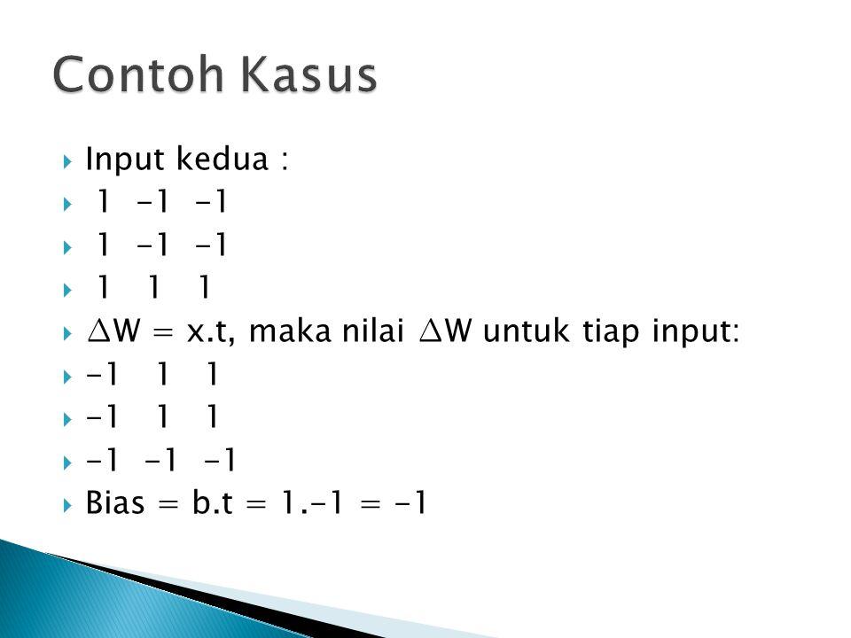  Input kedua :  1 -1 -1  1 1 1  ∆W = x.t, maka nilai ∆W untuk tiap input:  -1 1 1  -1 -1 -1  Bias = b.t = 1.-1 = -1