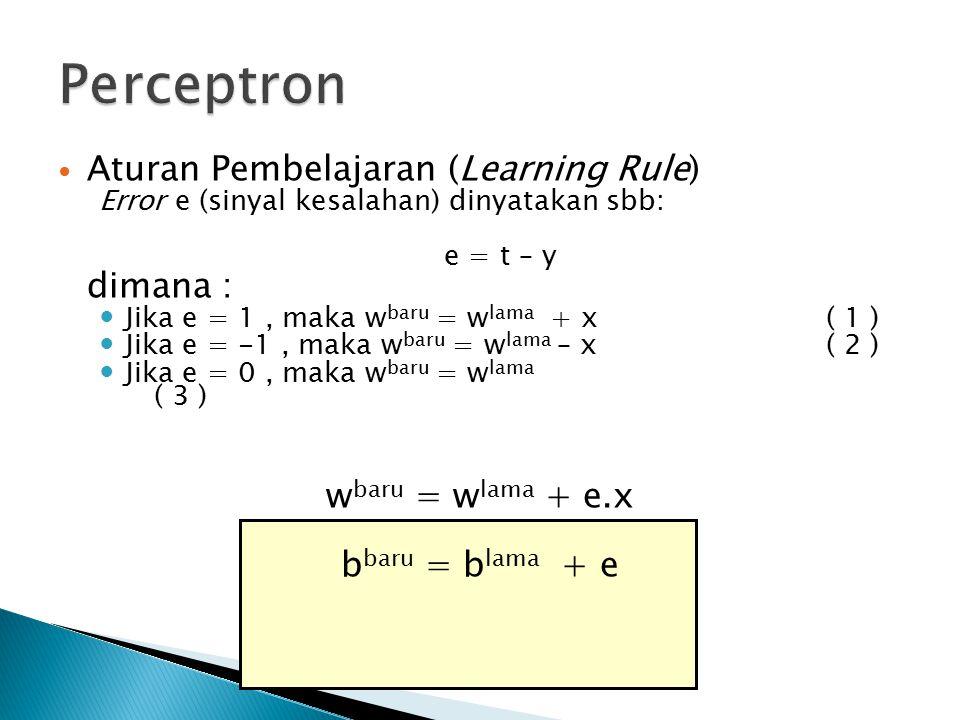 Aturan Pembelajaran (Learning Rule) Error e (sinyal kesalahan) dinyatakan sbb: e = t – y dimana : Jika e = 1, maka w baru = w lama + x( 1 ) Jika e = -