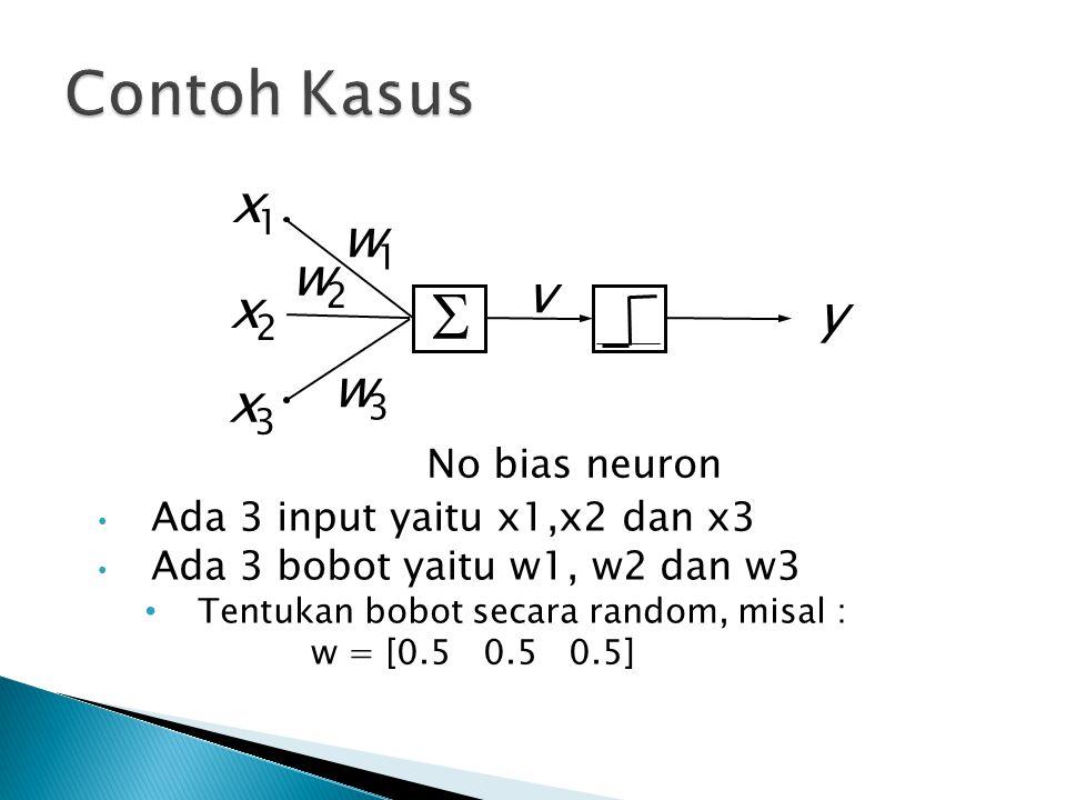 Ada 3 input yaitu x1,x2 dan x3 Ada 3 bobot yaitu w1, w2 dan w3 Tentukan bobot secara random, misal : w = [0.5 0.5 0.5]  y x 1 w 1 v x 3 w 3 No bias n