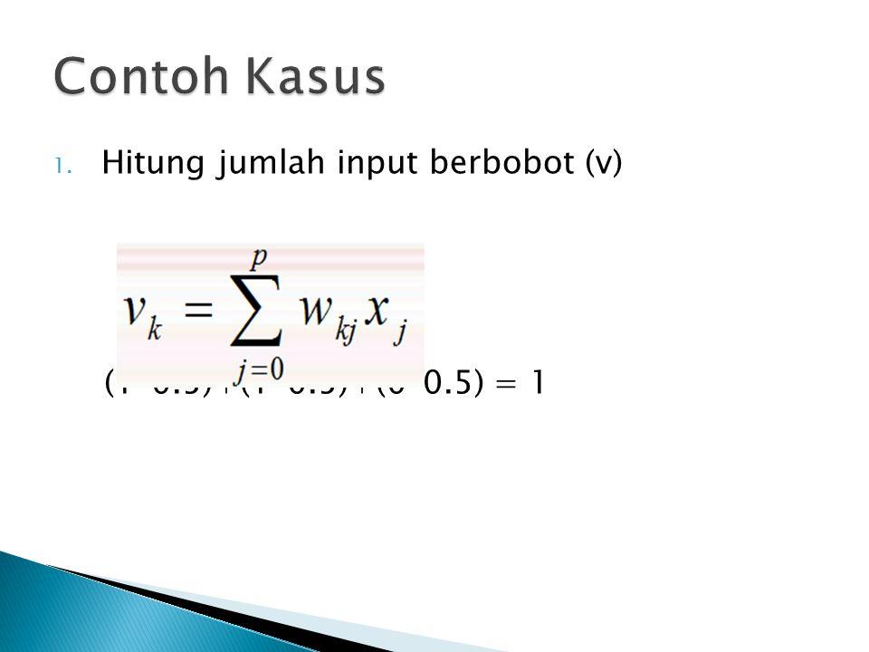 1. Hitung jumlah input berbobot (v) (1*0.5)+(1*0.5)+(0*0.5) = 1