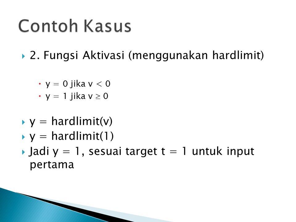  2. Fungsi Aktivasi (menggunakan hardlimit)  y = 0 jika v < 0  y = 1 jika v  0  y = hardlimit(v)  y = hardlimit(1)  Jadi y = 1, sesuai target t