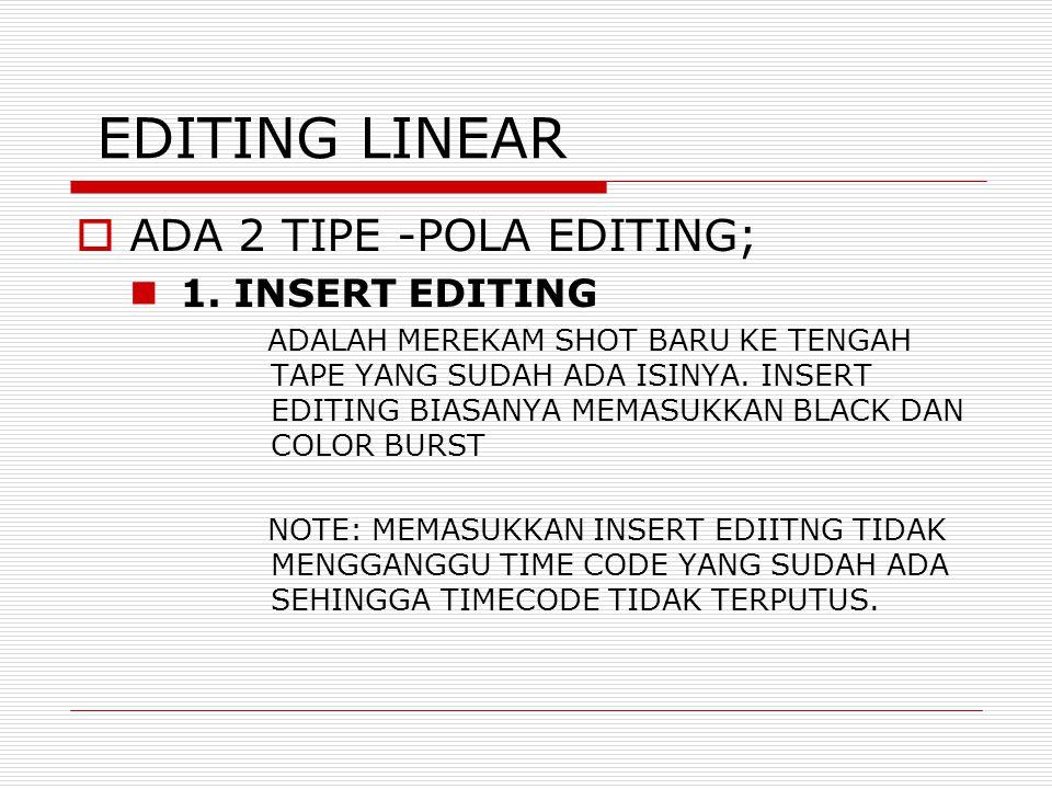 EDITING LINEAR  ADA 2 TIPE -POLA EDITING; 1.