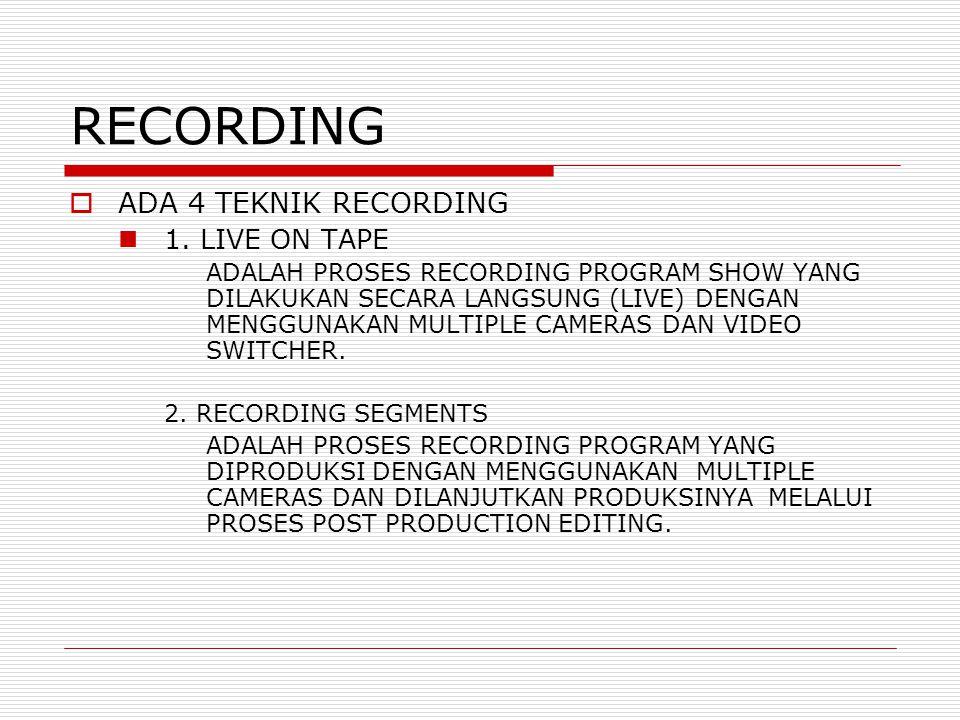 RECORDING  ADA 4 TEKNIK RECORDING 1.