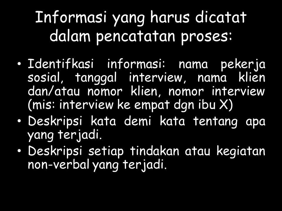 Informasi yang harus dicatat dalam pencatatan proses: Identifkasi informasi: nama pekerja sosial, tanggal interview, nama klien dan/atau nomor klien,