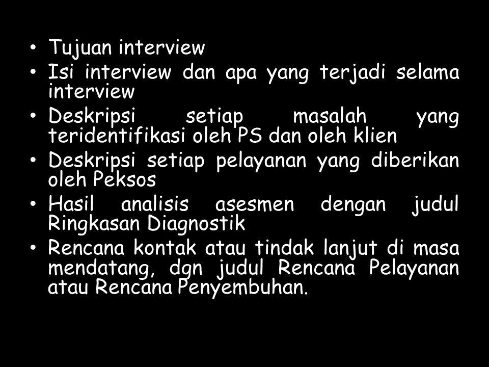 Tujuan interview Isi interview dan apa yang terjadi selama interview Deskripsi setiap masalah yang teridentifikasi oleh PS dan oleh klien Deskripsi se