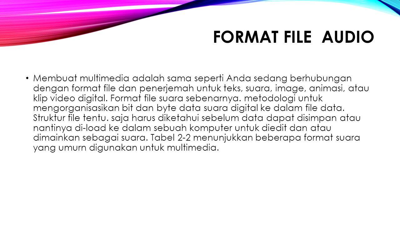 FORMAT FILE AUDIO Membuat multimedia adalah sama seperti Anda sedang berhubungan dengan format file dan penerjemah untuk teks, suara, image, animasi,