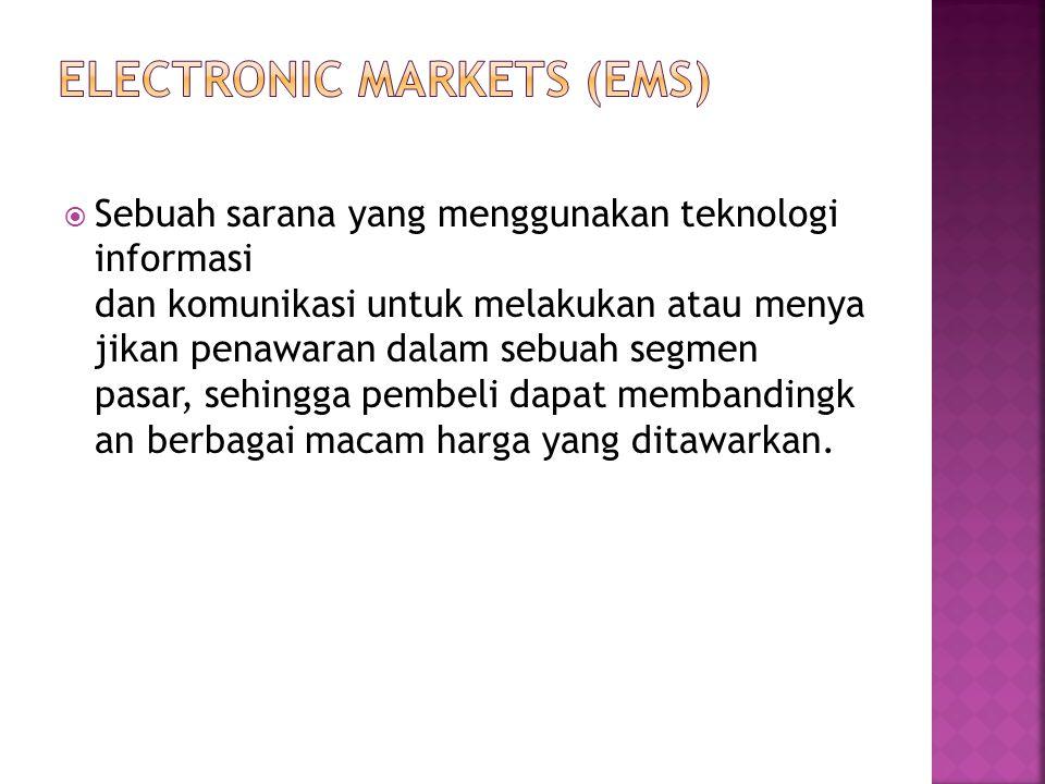  Sebuah sarana yang menggunakan teknologi informasi dan komunikasi untuk melakukan atau menya jikan penawaran dalam sebuah segmen pasar, sehingga pem