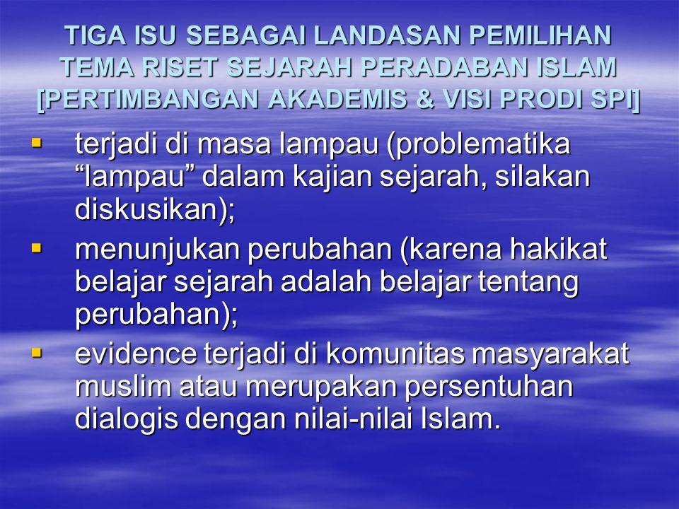 TIGA ISU SEBAGAI LANDASAN PEMILIHAN TEMA RISET SEJARAH PERADABAN ISLAM [PERTIMBANGAN AKADEMIS & VISI PRODI SPI]  terjadi di masa lampau (problematika