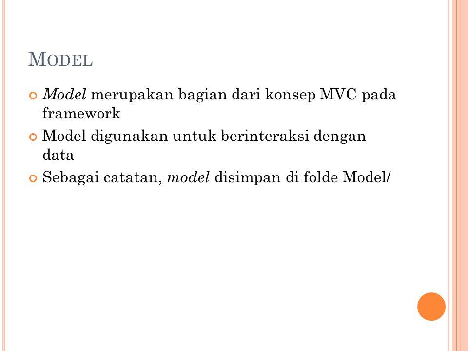 M ODEL Model merupakan bagian dari konsep MVC pada framework Model digunakan untuk berinteraksi dengan data Sebagai catatan, model disimpan di folde Model/