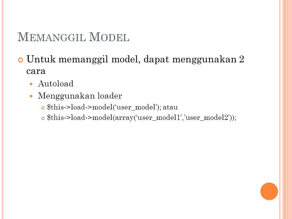 M EMANGGIL M ODEL Untuk memanggil model, dapat menggunakan 2 cara Autoload Menggunakan loader $this->load->model('user_model'); atau $this->load->model(array('user_model1','user_model2'));