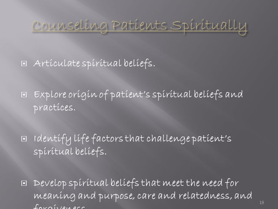  Articulate spiritual beliefs. Explore origin of patient's spiritual beliefs and practices.