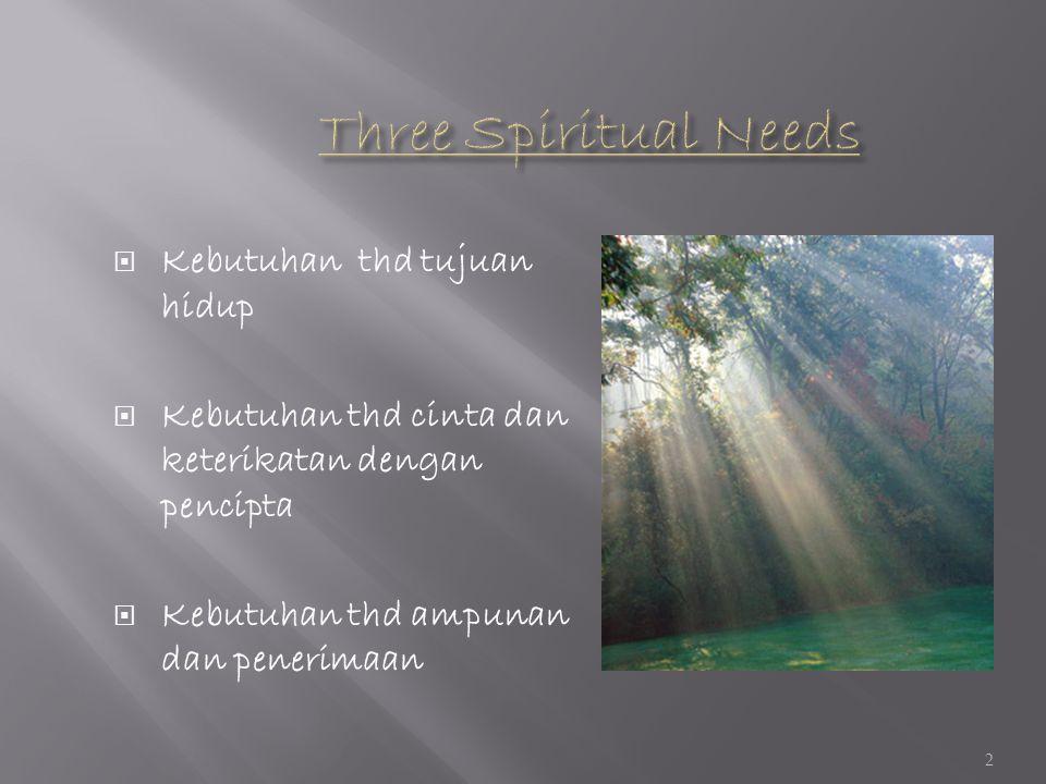  Kebutuhan thd tujuan hidup  Kebutuhan thd cinta dan keterikatan dengan pencipta  Kebutuhan thd ampunan dan penerimaan 2