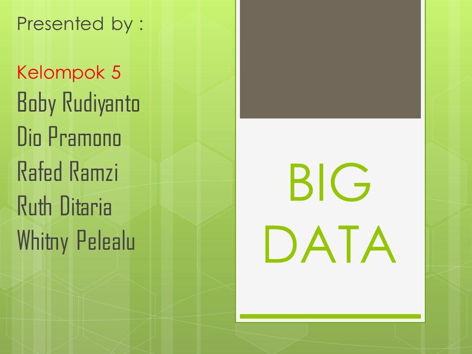 BIG DATA Presented by : Kelompok 5 Boby Rudiyanto Dio Pramono Rafed Ramzi Ruth Ditaria Whitny Pelealu