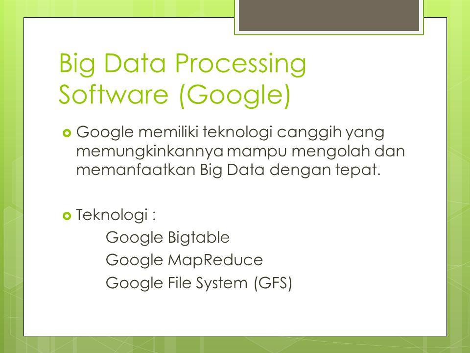 Big Data Processing Software (Google)  Google memiliki teknologi canggih yang memungkinkannya mampu mengolah dan memanfaatkan Big Data dengan tepat.