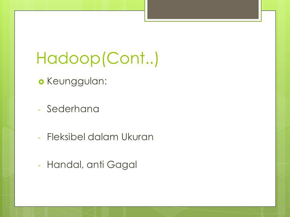 Hadoop(Cont..)  Keunggulan: - Sederhana - Fleksibel dalam Ukuran - Handal, anti Gagal