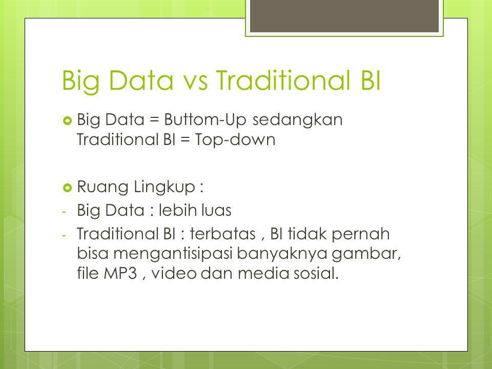 Big Data vs Traditional BI  Big Data = Buttom-Up sedangkan Traditional BI = Top-down  Ruang Lingkup : - Big Data : lebih luas - Traditional BI : ter