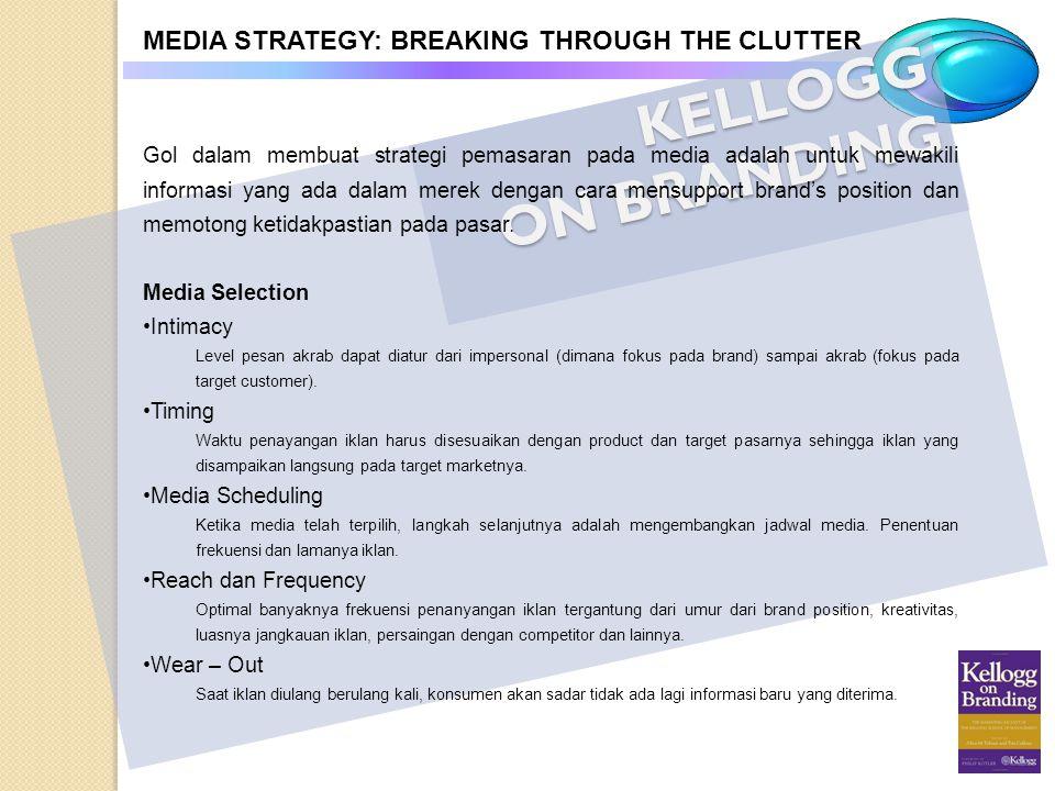KELLOGG ON BRANDING MEDIA STRATEGY: BREAKING THROUGH THE CLUTTER Gol dalam membuat strategi pemasaran pada media adalah untuk mewakili informasi yang