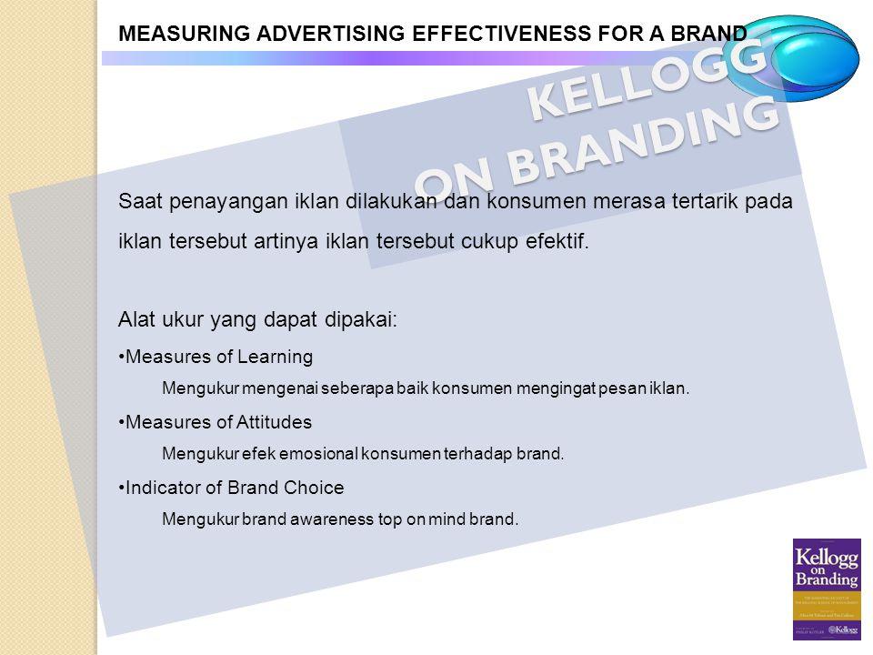 KELLOGG ON BRANDING MEASURING ADVERTISING EFFECTIVENESS FOR A BRAND Saat penayangan iklan dilakukan dan konsumen merasa tertarik pada iklan tersebut a