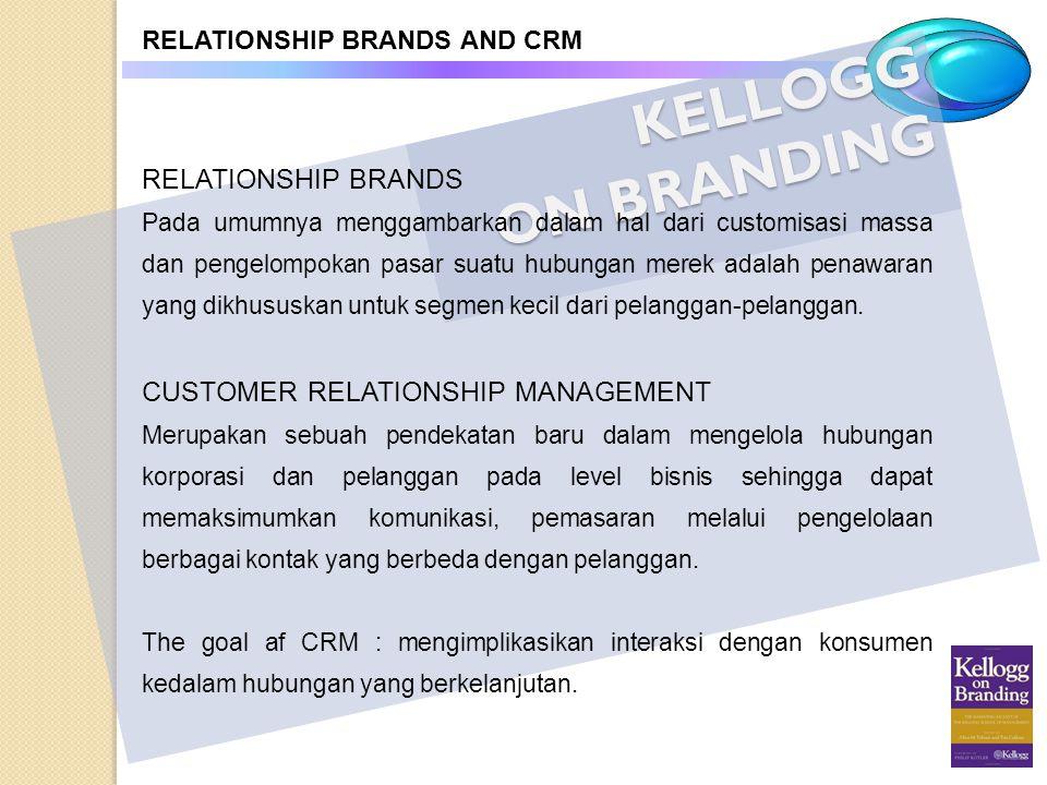 KELLOGG ON BRANDING RELATIONSHIP BRANDS AND CRM RELATIONSHIP BRANDS Pada umumnya menggambarkan dalam hal dari customisasi massa dan pengelompokan pasa