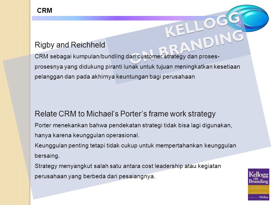 KELLOGG ON BRANDING CRM Rigby and Reichheld CRM sebagai kumpulan/bundling dari customer strategy dan proses- prosesnya yang didukung piranti lunak unt