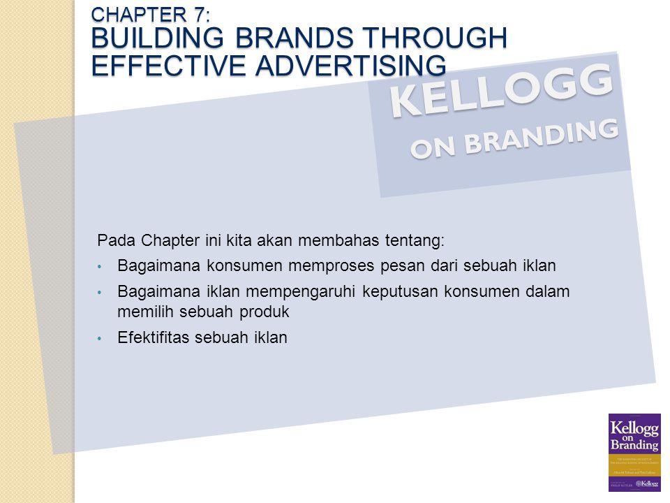 KELLOGG ON BRANDING Pada Chapter ini kita akan membahas tentang: Bagaimana konsumen memproses pesan dari sebuah iklan Bagaimana iklan mempengaruhi kep