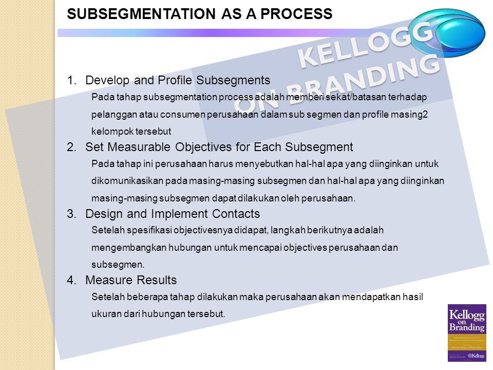 KELLOGG ON BRANDING SUBSEGMENTATION AS A PROCESS 1.Develop and Profile Subsegments Pada tahap subsegmentation process adalah memberi sekat/batasan ter