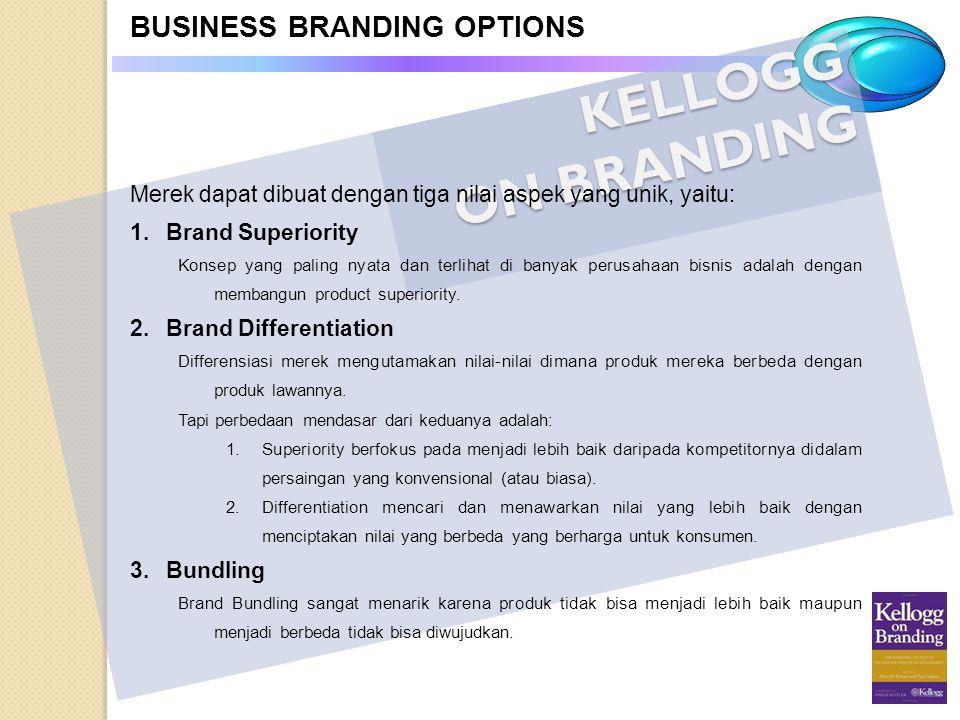 KELLOGG ON BRANDING BUSINESS BRANDING OPTIONS Merek dapat dibuat dengan tiga nilai aspek yang unik, yaitu: 1.Brand Superiority Konsep yang paling nyat