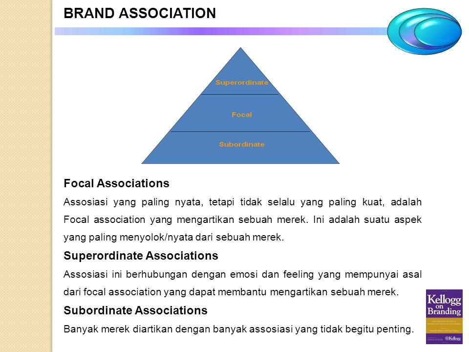 BRAND ASSOCIATION Focal Associations Assosiasi yang paling nyata, tetapi tidak selalu yang paling kuat, adalah Focal association yang mengartikan sebu