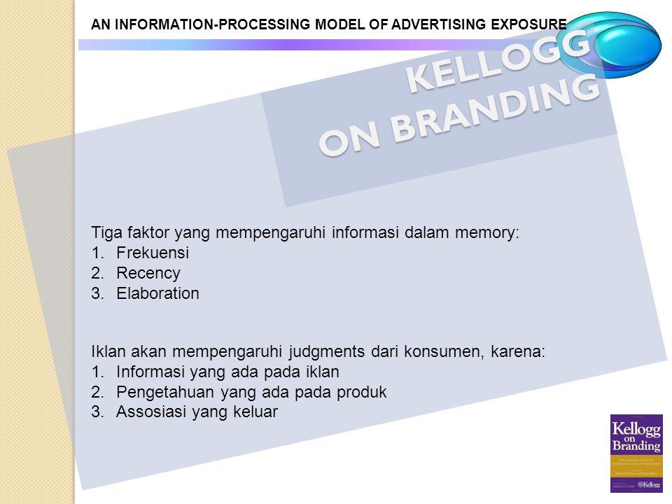 KELLOGG ON BRANDING AN INFORMATION-PROCESSING MODEL OF ADVERTISING EXPOSURE Tiga faktor yang mempengaruhi informasi dalam memory: 1.Frekuensi 2.Recenc