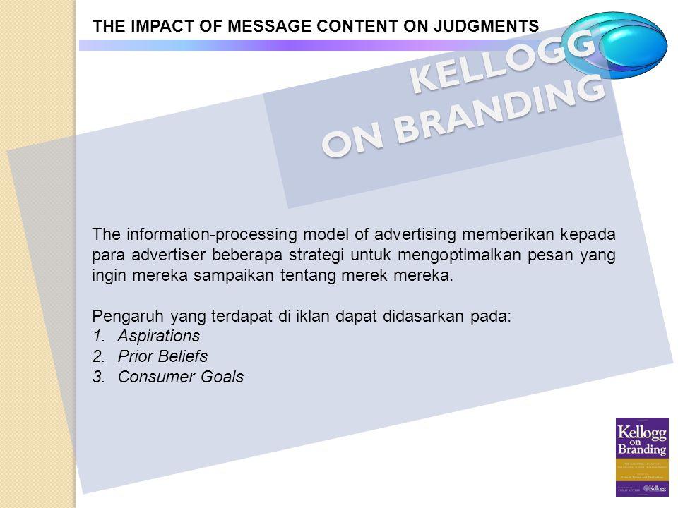 KELLOGG ON BRANDING THE IMPACT OF MESSAGE CONTENT ON JUDGMENTS The information-processing model of advertising memberikan kepada para advertiser beber