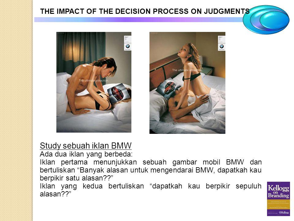THE IMPACT OF THE DECISION PROCESS ON JUDGMENTS Study sebuah iklan BMW Ada dua iklan yang berbeda: Iklan pertama menunjukkan sebuah gambar mobil BMW d