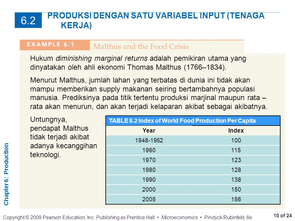 Chapter 6: Production 10 of 24 Copyright © 2009 Pearson Education, Inc. Publishing as Prentice Hall Microeconomics Pindyck/Rubinfeld, 8e. PRODUKSI DEN