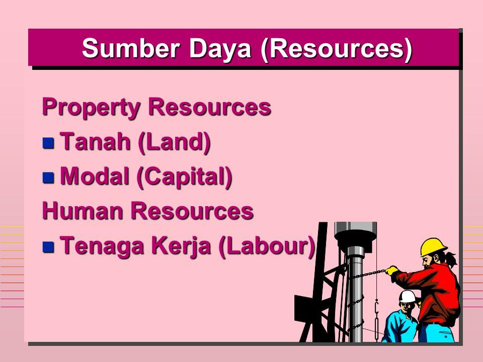 Sumber Daya (Resources) Sumber Daya (Resources) Property Resources n Tanah (Land) n Modal (Capital) Human Resources n Tenaga Kerja (Labour)