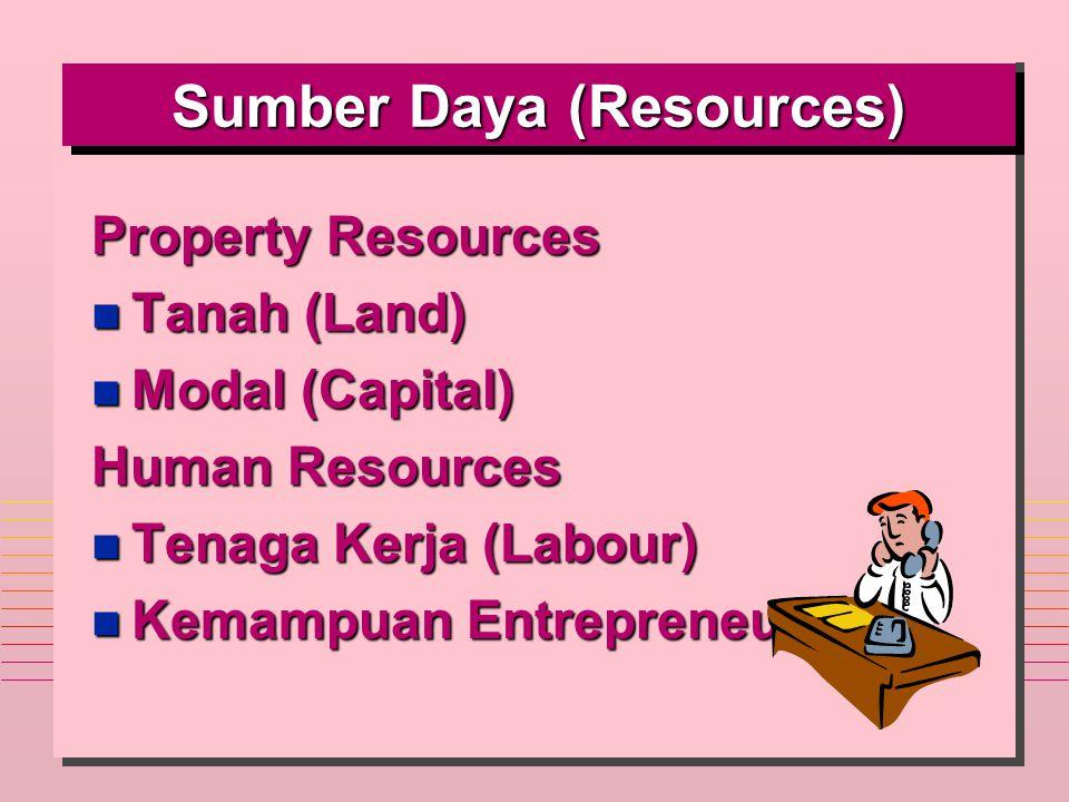 Sumber Daya (Resources) Property Resources n Tanah (Land) n Modal (Capital) Human Resources n Tenaga Kerja (Labour) n Kemampuan Entrepreneur