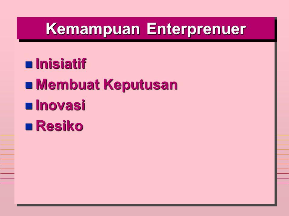 Kemampuan Enterprenuer n Inisiatif n Membuat Keputusan n Inovasi n Resiko