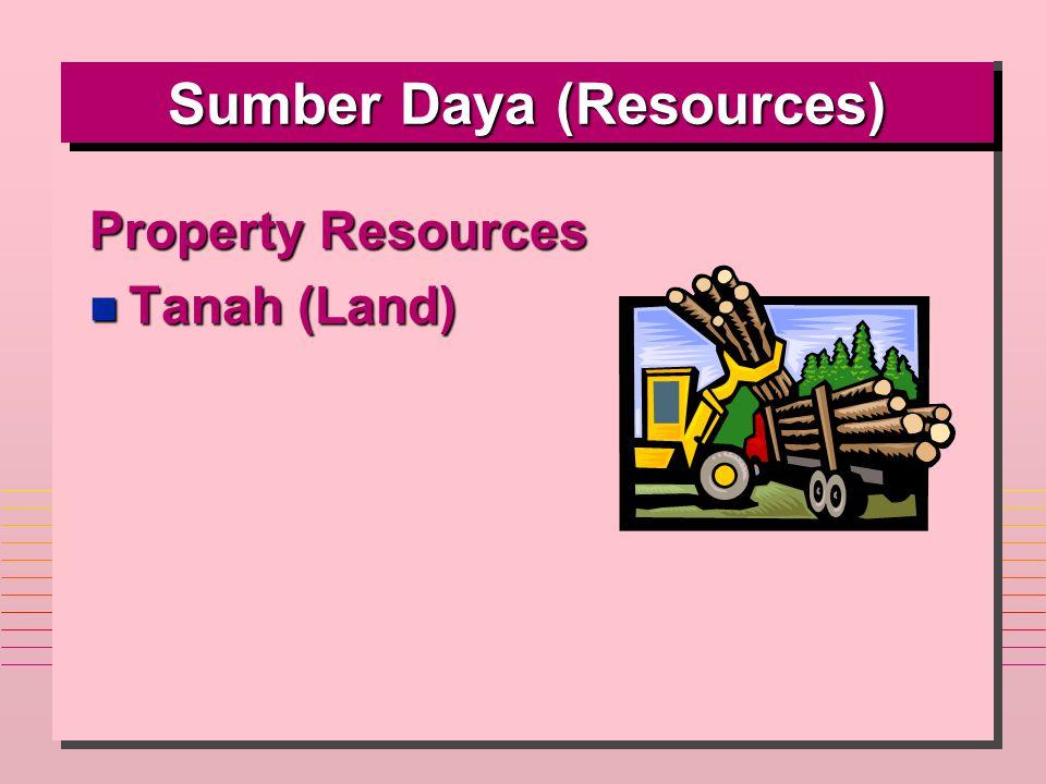 Sumber Daya (Resources) Property Resources n Tanah (Land)