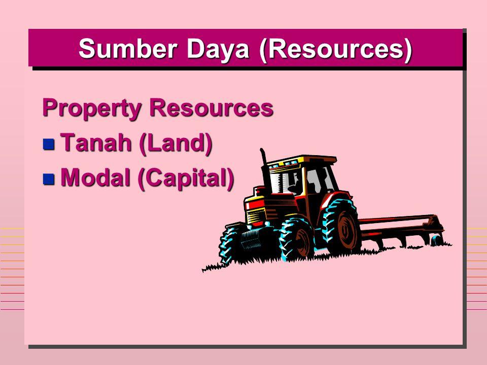 Sumber Daya (Resources) Property Resources n Tanah (Land) n Modal (Capital)