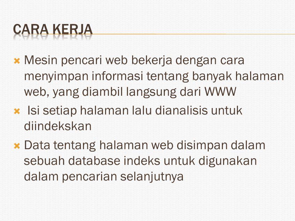 Mesin pencari web bekerja dengan cara menyimpan informasi tentang banyak halaman web, yang diambil langsung dari WWW  Isi setiap halaman lalu diana