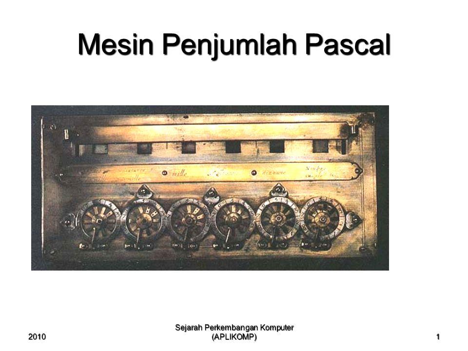 2010 Sejarah Perkembangan Komputer (APLIKOMP) 1 Mesin Penjumlah Pascal
