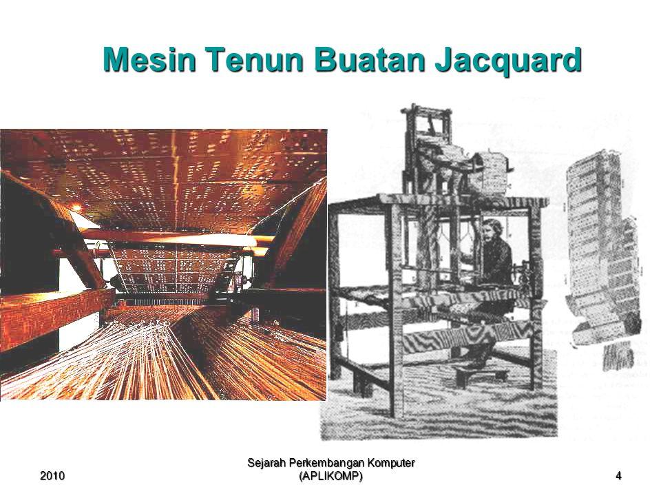 2010 Sejarah Perkembangan Komputer (APLIKOMP) 4 Mesin Tenun Buatan Jacquard