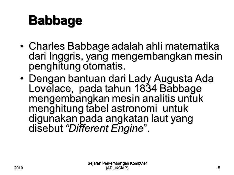 2010 Sejarah Perkembangan Komputer (APLIKOMP) 5 Babbage Charles Babbage adalah ahli matematika dari Inggris, yang mengembangkan mesin penghitung otomatis.Charles Babbage adalah ahli matematika dari Inggris, yang mengembangkan mesin penghitung otomatis.