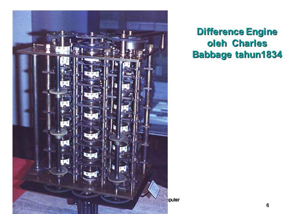 2010 Sejarah Perkembangan Komputer (APLIKOMP) 6 Difference Engine oleh Charles Babbage tahun1834