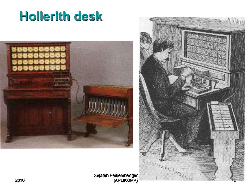 2010 Sejarah Perkembangan Komputer (APLIKOMP) 8 Hollerith desk