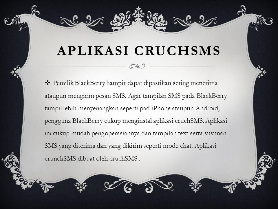 APLIKASI CRUCHSMS  Pemilik BlackBerry hampir dapat dipastikan sering menerima ataupun mengirim pesan SMS. Agar tampilan SMS pada BlackBerry tampil le